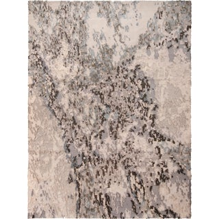 Contemporary Silver and Charcoal Drawing Graphic Rug - 9′ × 12′ For Sale
