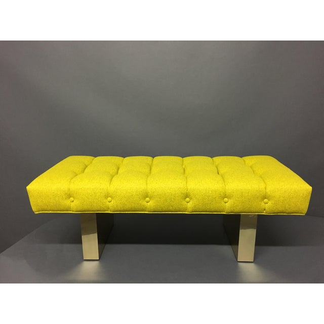 Amazing tufted bench in Divina Melange 421 by Kavadrat for Maharam textiles, Brass base in perfect condition
