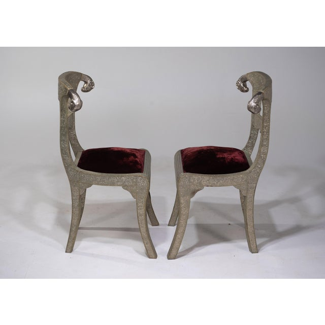 Glam Pair of Anglo Indian Regency Style Rams Head Side Chairs For Sale - Image 11 of 13