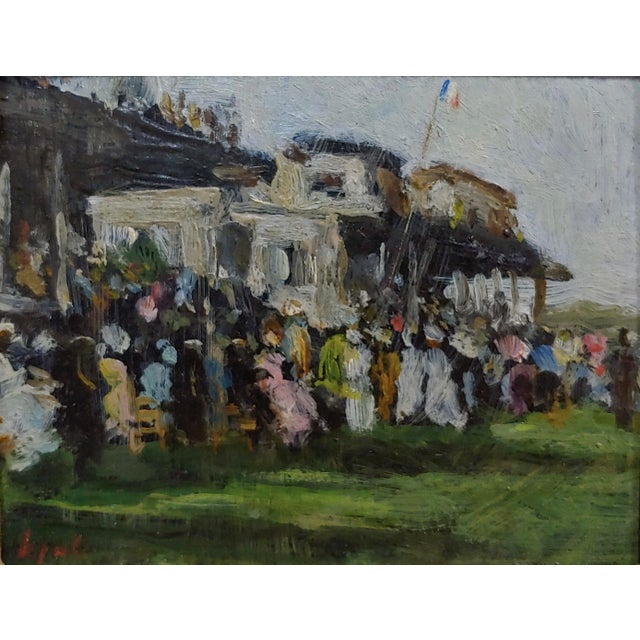 French Gabriel Spat -An Evening at the Race Track -1920s French Oil Painting For Sale - Image 3 of 11
