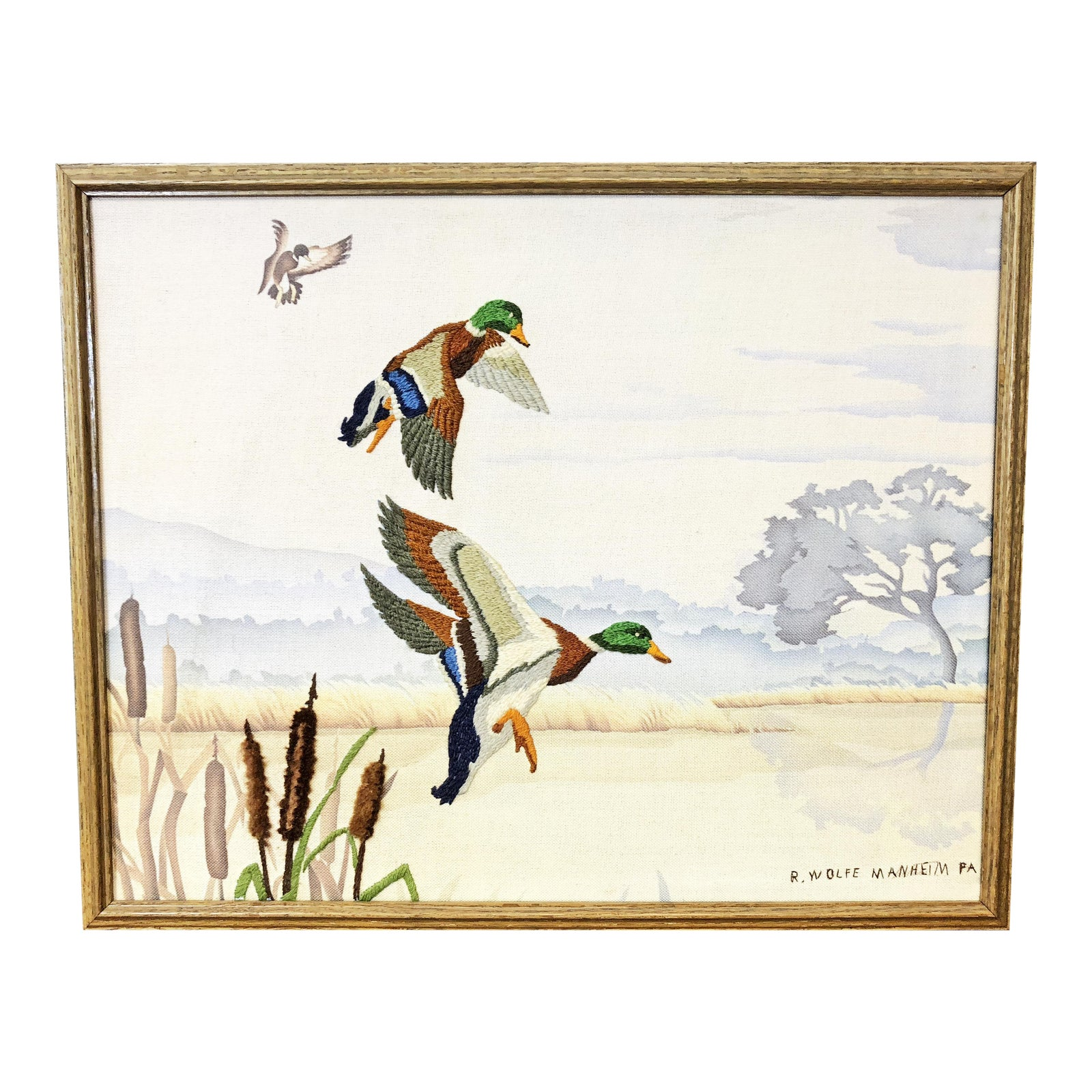 Vintage Duck Hunting Framed Needlepoint - Great for Cabin Decor ...