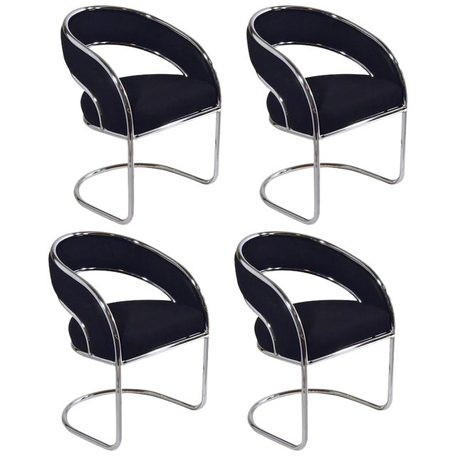 S / 4 Mid Century Modern Upholstered Chrome Sling Back Dining / Side Armchairs by Contemporary Shells Inc. - Image 1 of 5