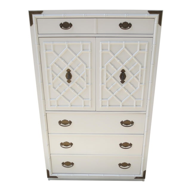 1960s Chippendale Thomasville Huntley Faux Bamboo Tall Chest With Brass Accents For Sale