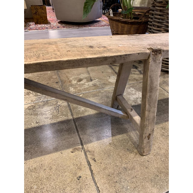 Mid 19th Century Antique French Long Primitive Bench For Sale - Image 5 of 12