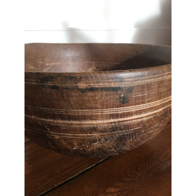 Good antique condition burl wood bowl with no significant cracks. Hand carved with aged patina.