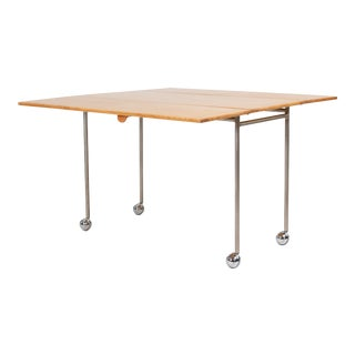 1960s Drop Leaf Rolling Table by Bruno Mathsson for Firma Karl Mathsson For Sale
