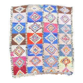 1980s Vintage Moroccan Boucherouite Rug For Sale