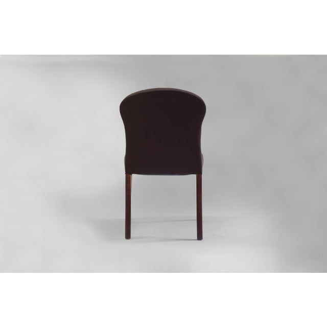 American Bisquit Tufted Dining Side Chair With Wood Legs and Balloon Shaped Back For Sale - Image 3 of 8