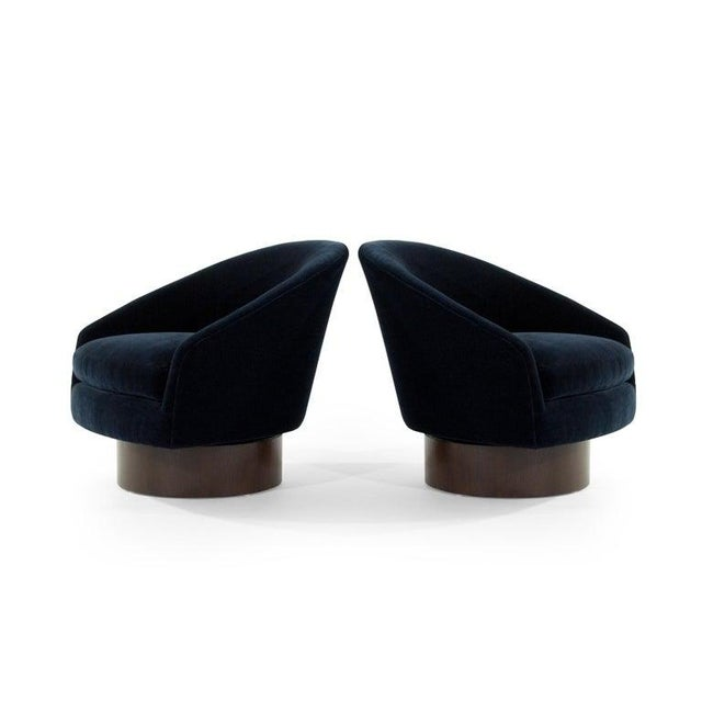 Adrian Pearsall Adrian Pearsall for Craft Associates Swivel Chairs in Deep Blue Mohair For Sale - Image 4 of 12
