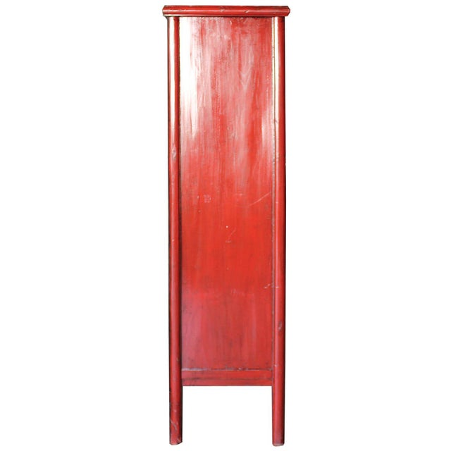 Vintage Chinese Red Lacquer Armoire Wardrobe Chest - Image 6 of 6