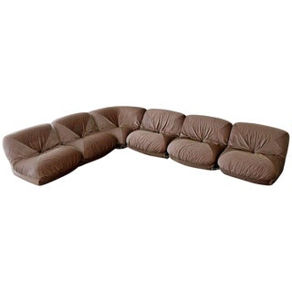 Mid Century Modern Airborne Patate 6 Piece Sectional Sofa 70s Velvet French For Sale