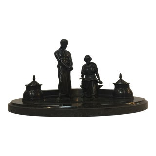 Mid Century Inkwell Standing on Top of Heavy Oval Shape Marble - 4 Pieces For Sale