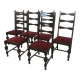 Image of 1920s French Farmhouse Ladder Back Dining Chairs - Set of 6 For Sale