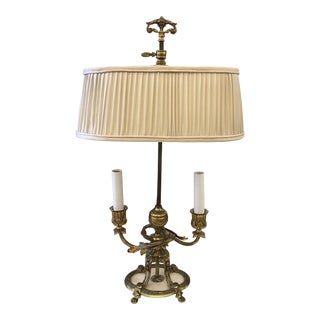 Antique Brass Faux Candle Table Lamp For Sale