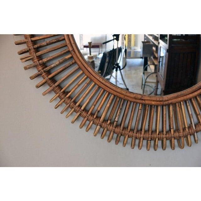 "Contemporary ""Oculus"" Round Rattan Convex Mirror For Sale - Image 4 of 5"
