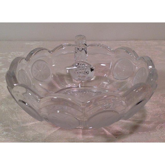Mid-Century Modern Fostoria Olympic Coin Nappy Handled Dish For Sale - Image 4 of 7