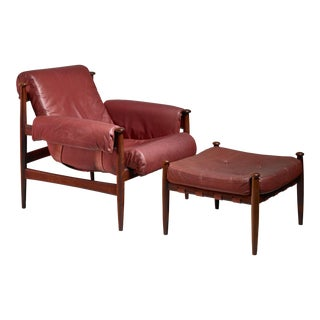 Eric Merthen lounge chair with ottoman, Sweden, 1960s For Sale