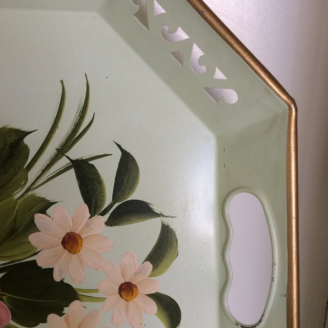 Hand Decorated Light Green Metal Tole Tray With Pink Roses by Pilgram Art For Sale In Sacramento - Image 6 of 13
