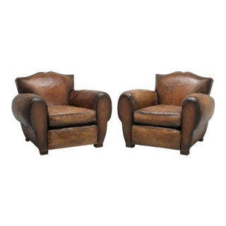 French Moustache Back Leather Club Chairs - a Pair For Sale