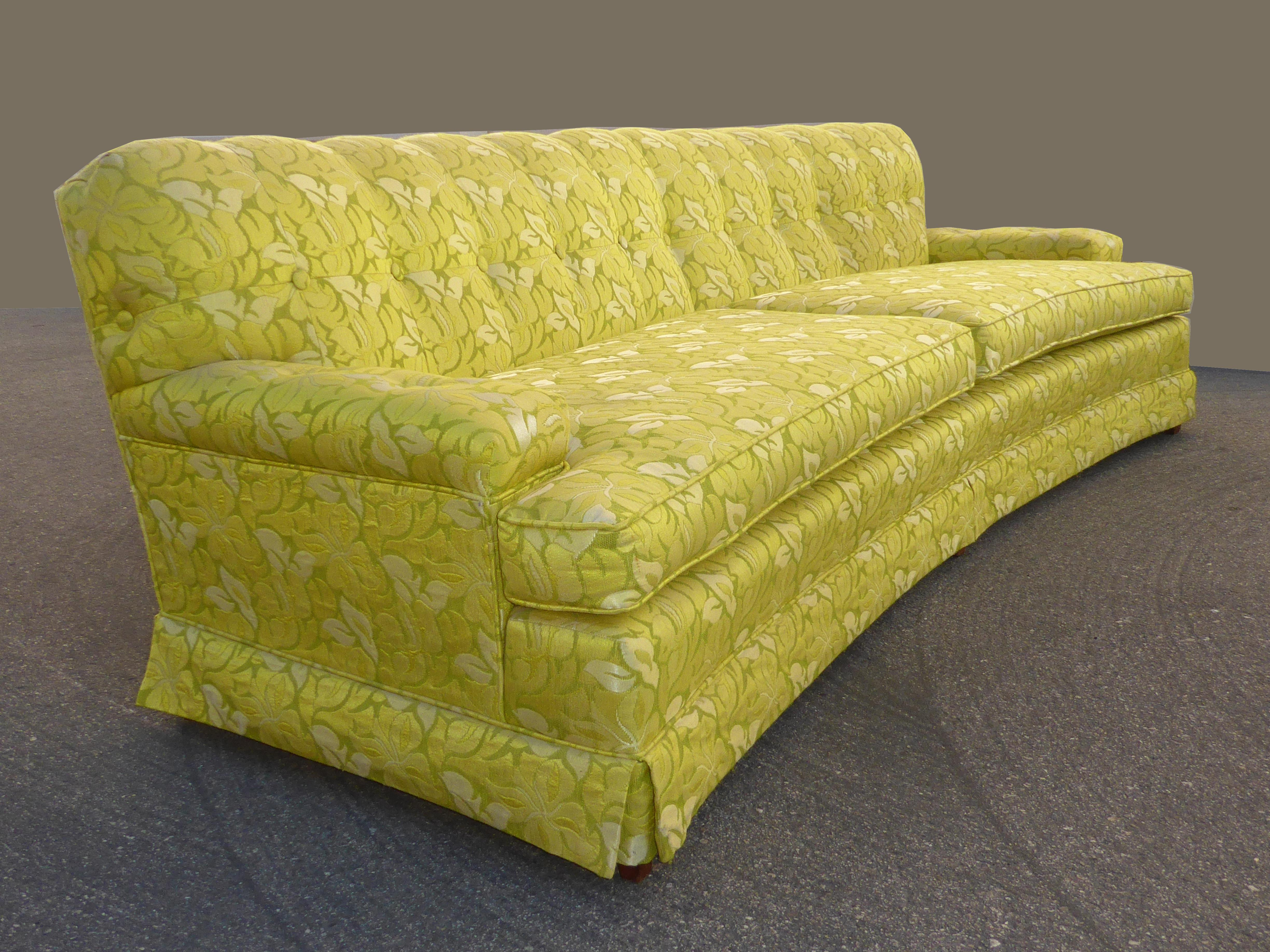 Merveilleux Mid Century Modern Vintage Mid Century Modern Curved Front Yellow U0026 Green Floral  Sofa