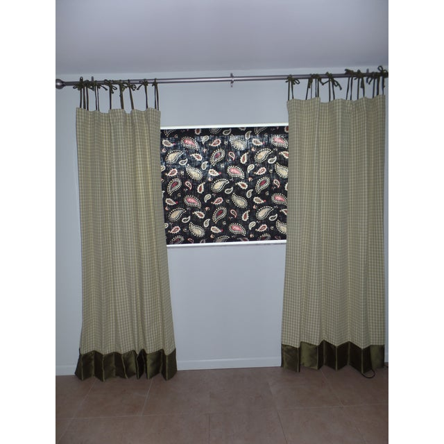 Green Custom Draperies - a Pair For Sale - Image 8 of 8