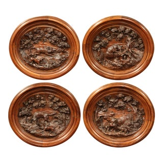 19th Century French Hand-Carved Walnut Black Forest Oval Hunting Plaques - Set of 4