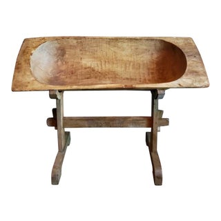 19th Century American Hand Carved Dough Bowl Trough & Stand For Sale