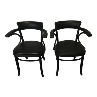 Restoration Hardware Leather Arm Chairs - a Pair