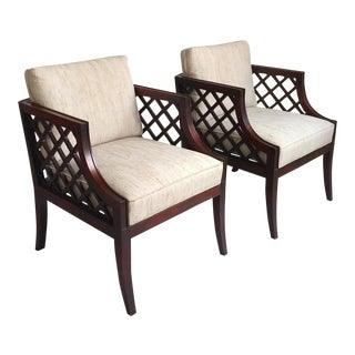 Chinese Chippendale Rosewood Lattice Arm Chairs - a Pair
