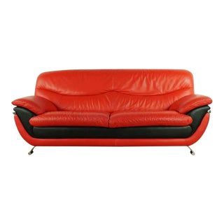 Contemporary CY Furniture Red and Black Leather Upholstered Sofa