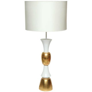 Monumental White & Gold Leaf Table Lamp For Sale
