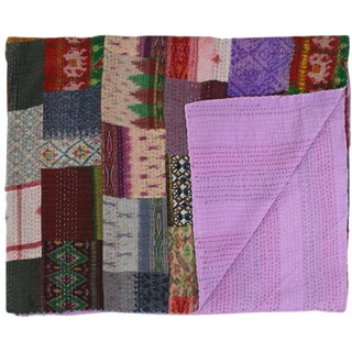 Silk Kantha Quilt   Double Bedspread