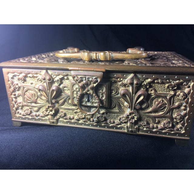 German Art Nouveau Bronze Box With Original Key For Sale - Image 9 of 10