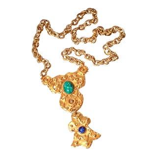Vintage Egyptian Revival Statement Necklace For Sale