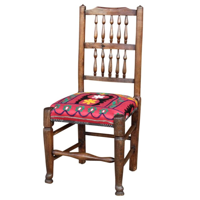 English Spindle Back Suzani Side Chair For Sale
