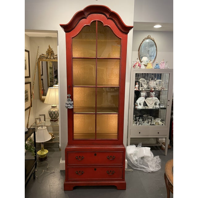 Vintage Asian Style Red Curio Cabinet For Sale - Image 9 of 9