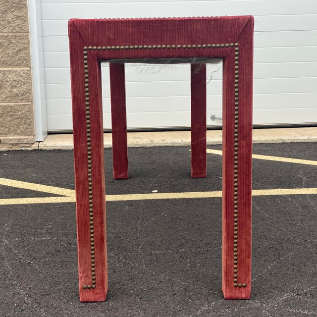 1970s Distressed Velvet Nailhead Parsons Console Table For Sale - Image 9 of 13