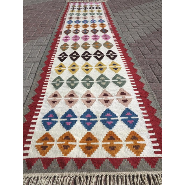 "Art Deco Anatolian Turkish Kilim Runner-3'1'x13"" For Sale - Image 3 of 13"