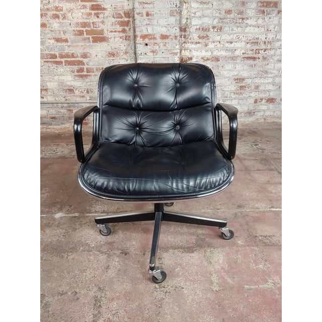 Mid-Century Modern Charles Pollock 1960s Executive Chairs in Black Leather for Knoll - A Pair For Sale - Image 3 of 10