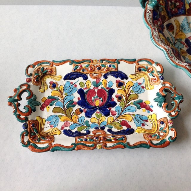 Hand-Painted Majolica Pottery Bowl & Tray - Image 6 of 11
