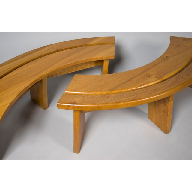 Pierre Chapo Pierre Chapo Elm Dinig Table and 3 Benches For Sale - Image 4 of 10