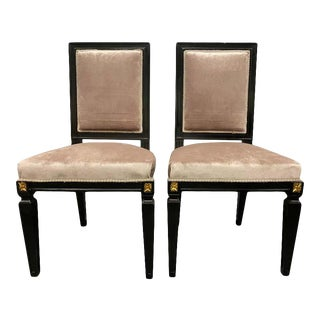 Pair of Mason Jansen Style Ebonized Dining Chairs Hollywood Regency Style For Sale