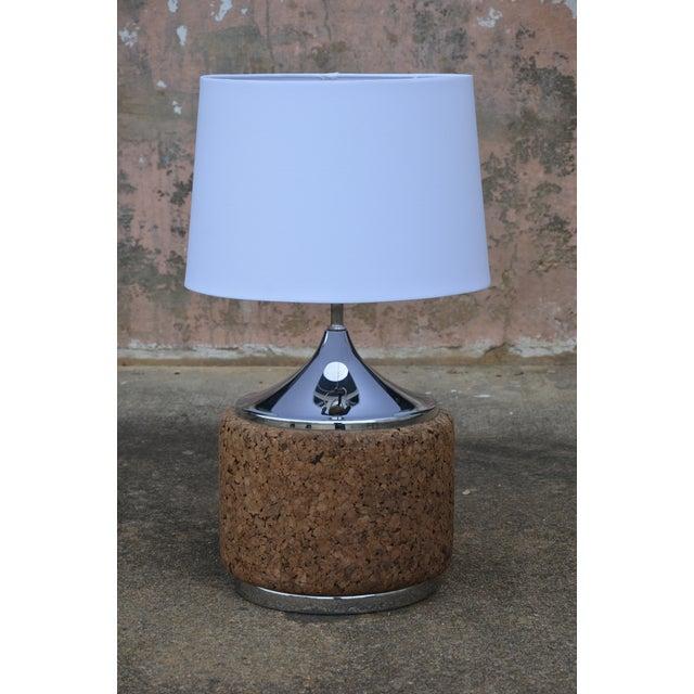 1960s 1960s Vintage Laurel Mid-Century Modern Cork & Chrome Table Lamp For Sale - Image 5 of 9