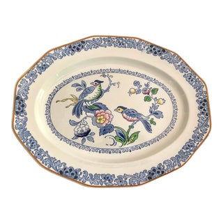 English Chinoiserie Birds Platter For Sale