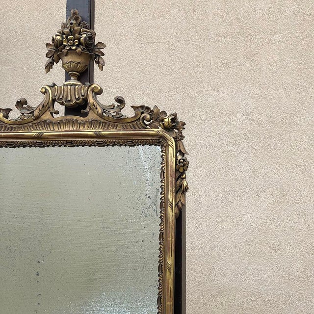 Late 19th Century 19th Century Italian Carved Giltwood Mirror For Sale - Image 5 of 11