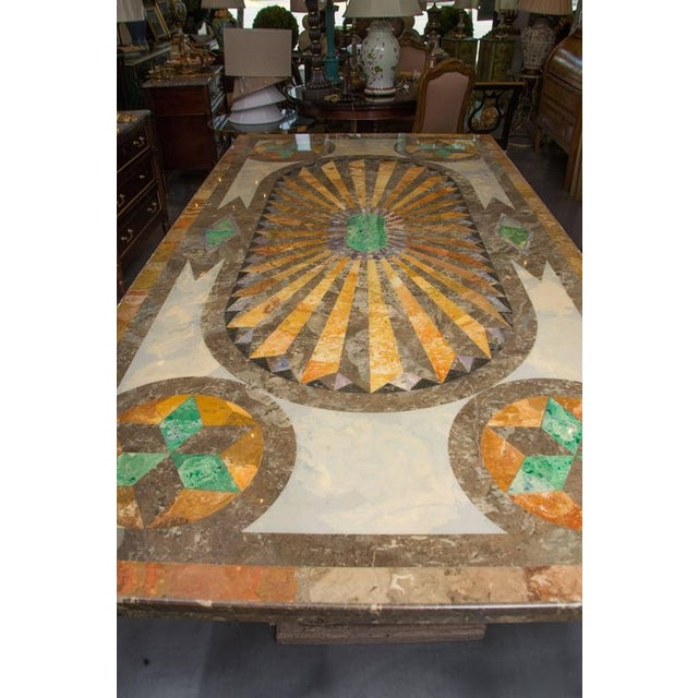 Italian Italian Scagliola Marble-Table on Concrete Plinths For Sale - Image 3 of 7