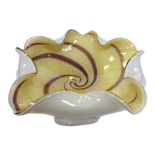 Murano Cased Glass Floriform Bowl For Sale