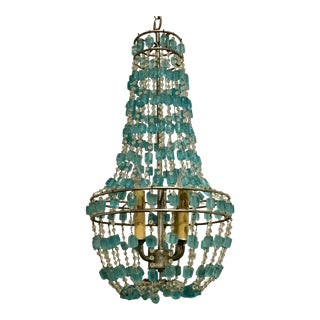 Arteriors Duke Aqua Glass Chandelier For Sale