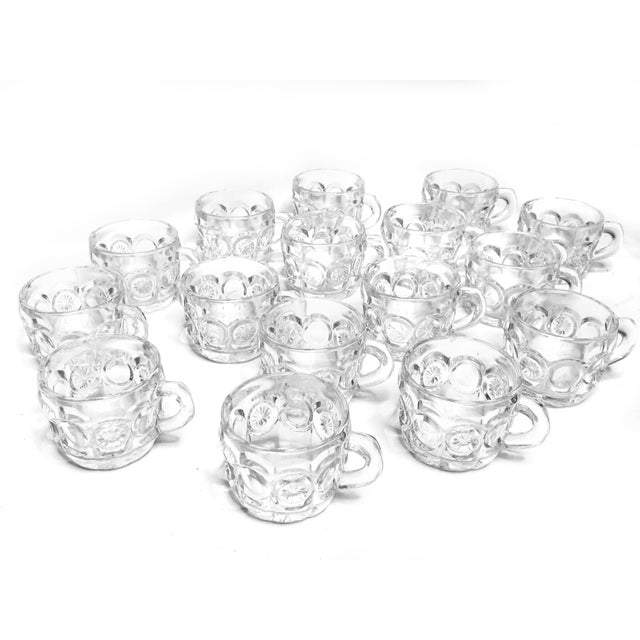Mid-Century Modern Vintage Mid Century 16 Piece Set of Tiffin-Franciscan Pressed Glass Tea Cups / Punch Cups For Sale - Image 3 of 3