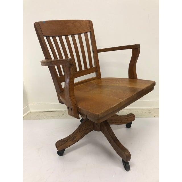 Arts & Crafts Vintage Industrial Wood Swivel Banker Chair For Sale - Image 3 of 13